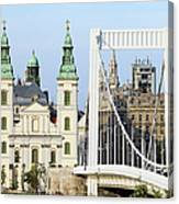 Parish Church And Elizabeth Bridge In Budapest Canvas Print