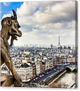 Parisian Gargoyle Admires The Skyline Canvas Print