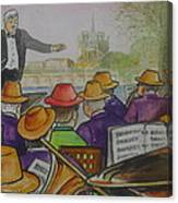 Parisian Hat Band Across From Notre Dame Cathedral Canvas Print