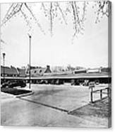 Park & Shop Early Strip Mall Canvas Print