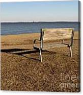 Park Bench At Sandy Point Canvas Print