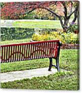 Park Bench By The Pond Canvas Print