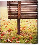 Park Bench In Autumn Canvas Print