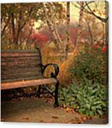 Park Bench In Autumn Canvas Print