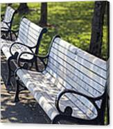 Park Benches At Portland Waterfront Park Canvas Print