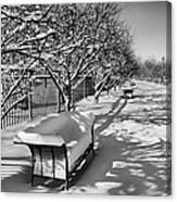 Park Benches Snow Upholstered Canvas Print