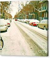 Parked Cars Snowed In Cold December Day Verdun Painting Quebec Winter Scenes Carole Spandau Art Canvas Print