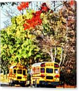 Parked School Buses Canvas Print