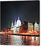 Parliament And The Danube Canvas Print
