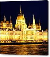 Parliament Building At Night In Budapest Canvas Print