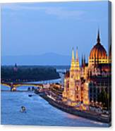 Parliament Building In Budapest At Evening Canvas Print