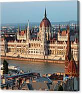 Parliament Building In Budapest At Sunset Canvas Print