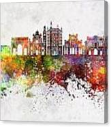 Parma Skyline In Watercolor Background Canvas Print