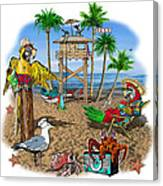 Parrot Beach Party Canvas Print