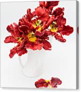 Parrot Tulips In A Milk Jug Canvas Print
