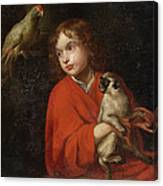 Parrot Watching A Boy Holding A Monkey Canvas Print