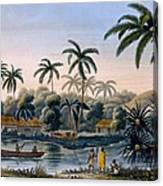 Part Of The Village Of Matavae, Coconut Canvas Print