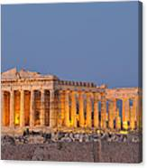 Parthenon In Acropolis Of Athens During Dusk Time Canvas Print