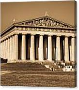 Parthenon In Sepia 3 Canvas Print