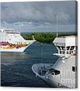 Passing Cruise Ships Canvas Print