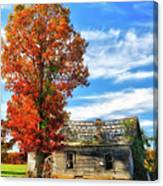 Past Its Prime I - A Barn In The Fall Canvas Print