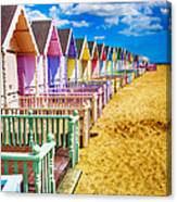 Pastel Beach Huts 2 Canvas Print
