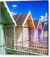 Pastel Beach Huts 3 Canvas Print