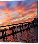 Pastel Painted Sky At The Pier Canvas Print