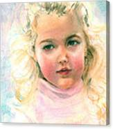 Pastel Portrait Of An Angelic Girl Canvas Print