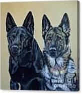 Pastel Portrait of Two German Shepherds Canvas Print