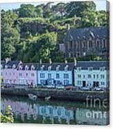 Pastel Rowhome In The Bay Highlands Scotland Canvas Print