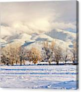 Pasture Land Covered In Snow With Taos Canvas Print