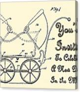 Patent Art Robinson Baby Carriage Invite Yellow Canvas Print
