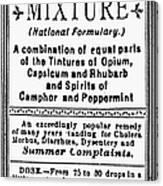 Patent Medicine: Opium Canvas Print