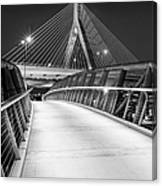 Path To The Zakim Bridge Bw Canvas Print