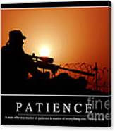 Patience Inspirational Quote Canvas Print