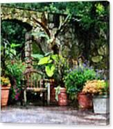 Patio Garden In The Rain Canvas Print