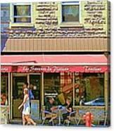Patisserie Les Saveurs Du Plateau Pique Nique Et Emporter Montreal Cafe Scene Art By Carole Spandau  Canvas Print