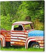 Patriotic Truck Canvas Print
