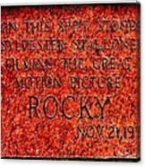 Pats Steaks - Rocky Plaque Canvas Print