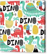 Pattern With Dino,dinosaur With Palms Canvas Print