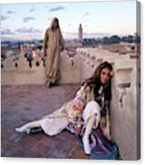 Paul Getty Jr And Talitha Getty On A Terrace Canvas Print