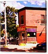 Paul Patate Pointe St Charles South West Montreal Autumn Street Scene Carole Spandau Canvas Print