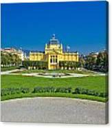 Pavillion In Green Park Of Zagreb Canvas Print