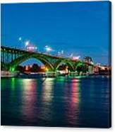 Peace Bridge And Buffalo Lights Canvas Print