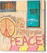 Hippie Graffiti - Peace But Keep Out Canvas Print