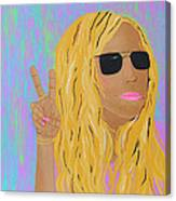 Peace Love And Pink Lipstick Canvas Print