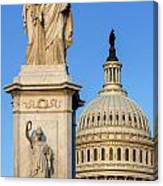 Peace Monument And Capitol Canvas Print