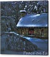 Peace On Earth Holiday Card Moonlight On Stone House.  Canvas Print