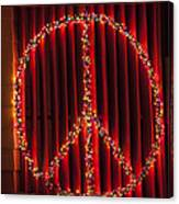 Peace Sign Christmas Lights Canvas Print